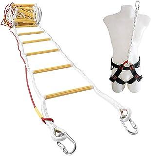 Brandtrap voor noodgevallen 10 m (32 ft) Vuurbestendige touwladder met karabijnhaken, veiligheidskoord en veiligheidsgorde...
