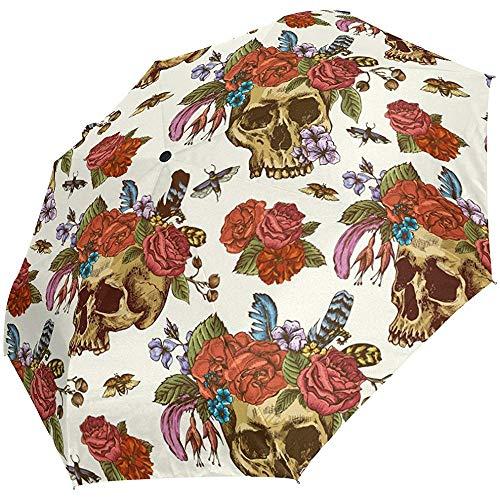 Jacque Dusk Regenschirm-Kompakter Reiseschirm Indian Sugar Skull Chief Wind-Und Wasserdichter Regenschirm-Baldachin-Auto Open Fürs Auto