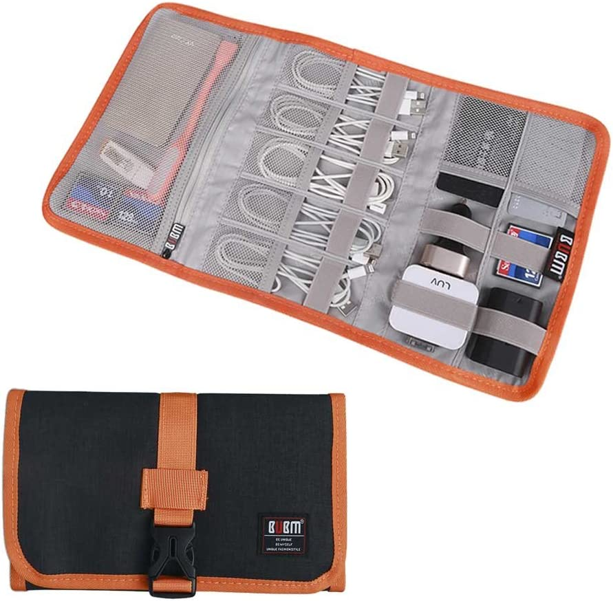 Electronic Organizer, BUBM Travel Cable Bag/USB Drive Shuttle Case/ Electronics Accessory Organizer for Home Office-Grey