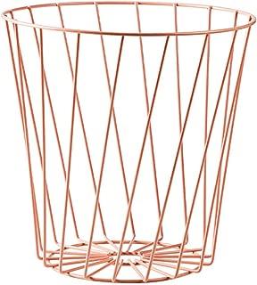 LIXIAN Jaula de Alambre de Hierro Forjado Bote de Basura Papelera Redonda Bote de Basura de Oficina Cesto de Basura Contenedor de Basura para bañoCocina-2