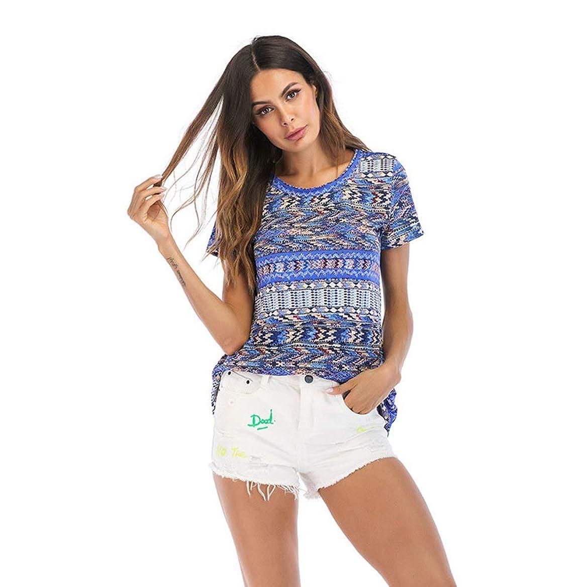 アラブ発疹散髪ナショナルスタイルの夏の女性用半袖、ウエストのデザイン、シンプルでゆったりとした、パーソナライズされた、快適な、大きいサイズの婦人服,XL