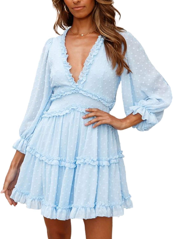 Sidefeel Womens V Neck Sleeveless Ruffle Mini Short Skirt Dresses