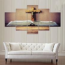 JCILZX Framework Canvas HD Prints Home Decor Jesus Painting 5 Pieces Cross Wall Art Religious Modular Landscape Pictures Artwork Poster