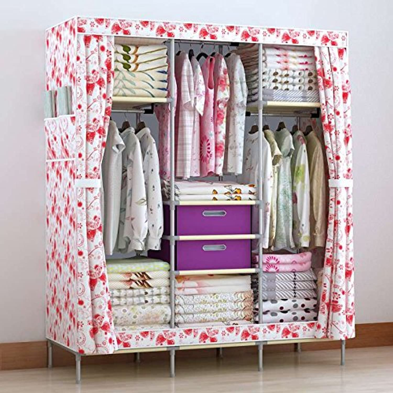Generic New Portable Double Closet Storage Organizer Wardrobe Hanging Space Clothes Cabinet + Free 2 Storage Boxes