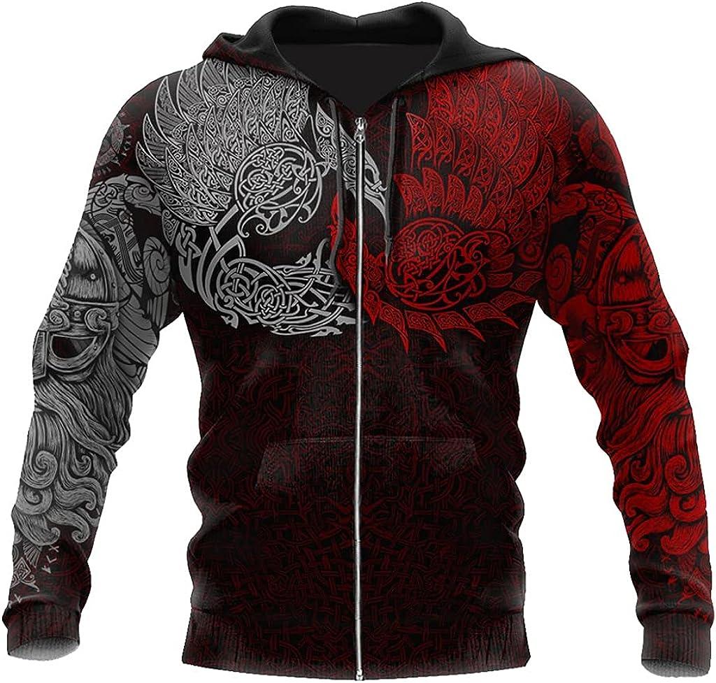 JJLLAZAD Nordic Odin Raven Sweater 3D Print Casual Loose Zip Sweatshirt Long Sleeve Men's Fall Big Pocket Baseball Uniform