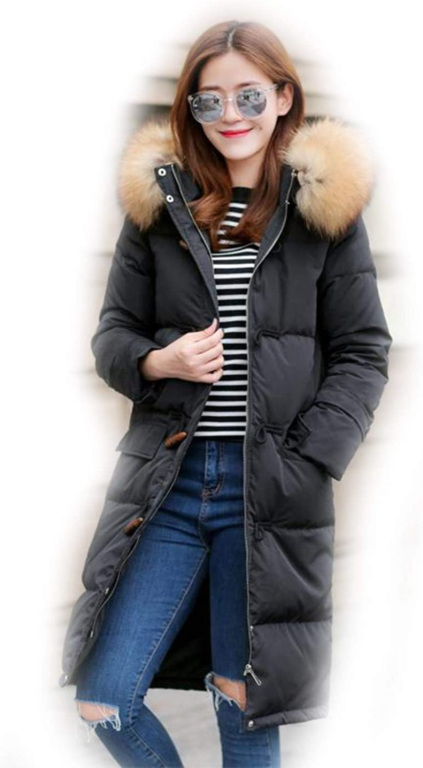 RAXDzN Winter Down Coat Women Thick Warm Fur Collar Hooded Medium Long Outwear
