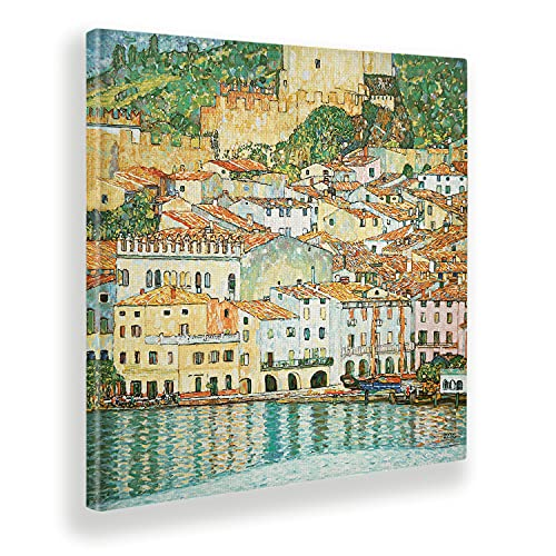Giallobus - Cuadro - Gustav Klimt - Malcesine sul Garda - Lienzo - 100x100 - Listo para Colgar - Cuadros Modernos para el hogar