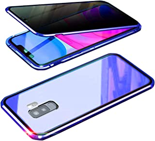 UMTITI Compatible Samsung Galaxy S9 Plus (6.2 inch 2019) Case, with Built-in Screen Protector Magnetic Clear Double-Sided Tempered Glass Anti-Spy Anti-Peeping Privacy Cover (Blue)
