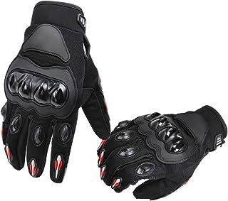 AmazonBasics Motorbike Powersports Racing Gloves - Large, Red