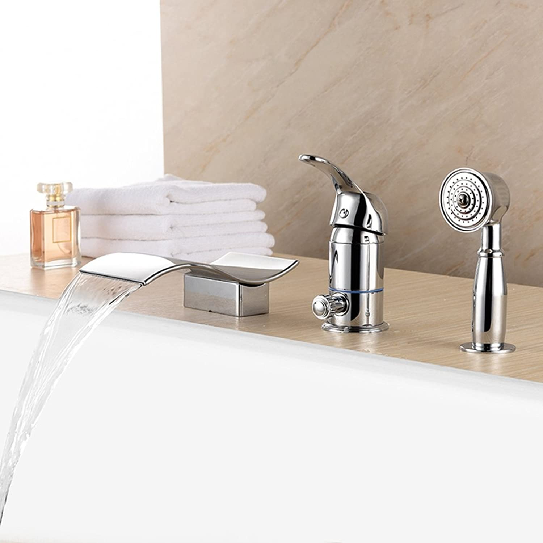 Ledu Badewanne Wasserhahn, Chrom-Becken-Spül Mischer Tap + Bade Füller Hand Gehaltene Dusch Kopf-Set, Warm-Und Kaltwasserhahn