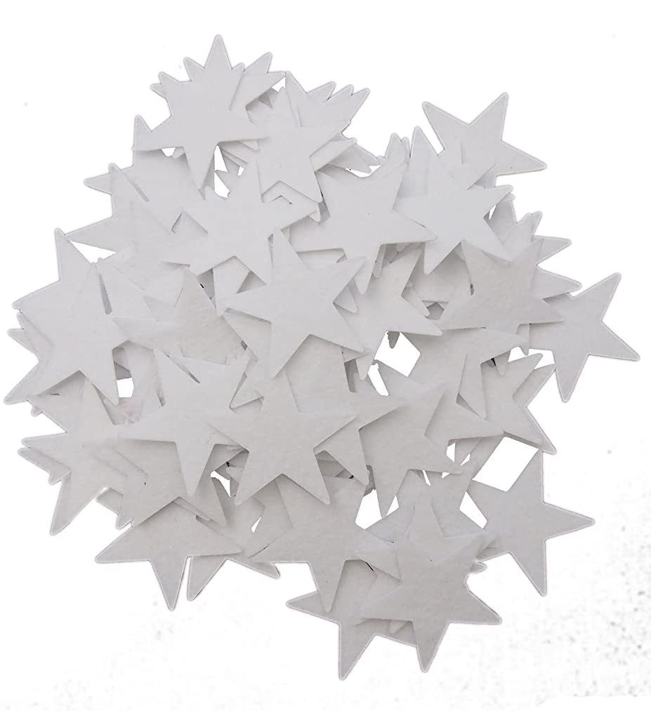 Playfully Ever After 1.5 Inch White 85 pc Felt Star Stickers