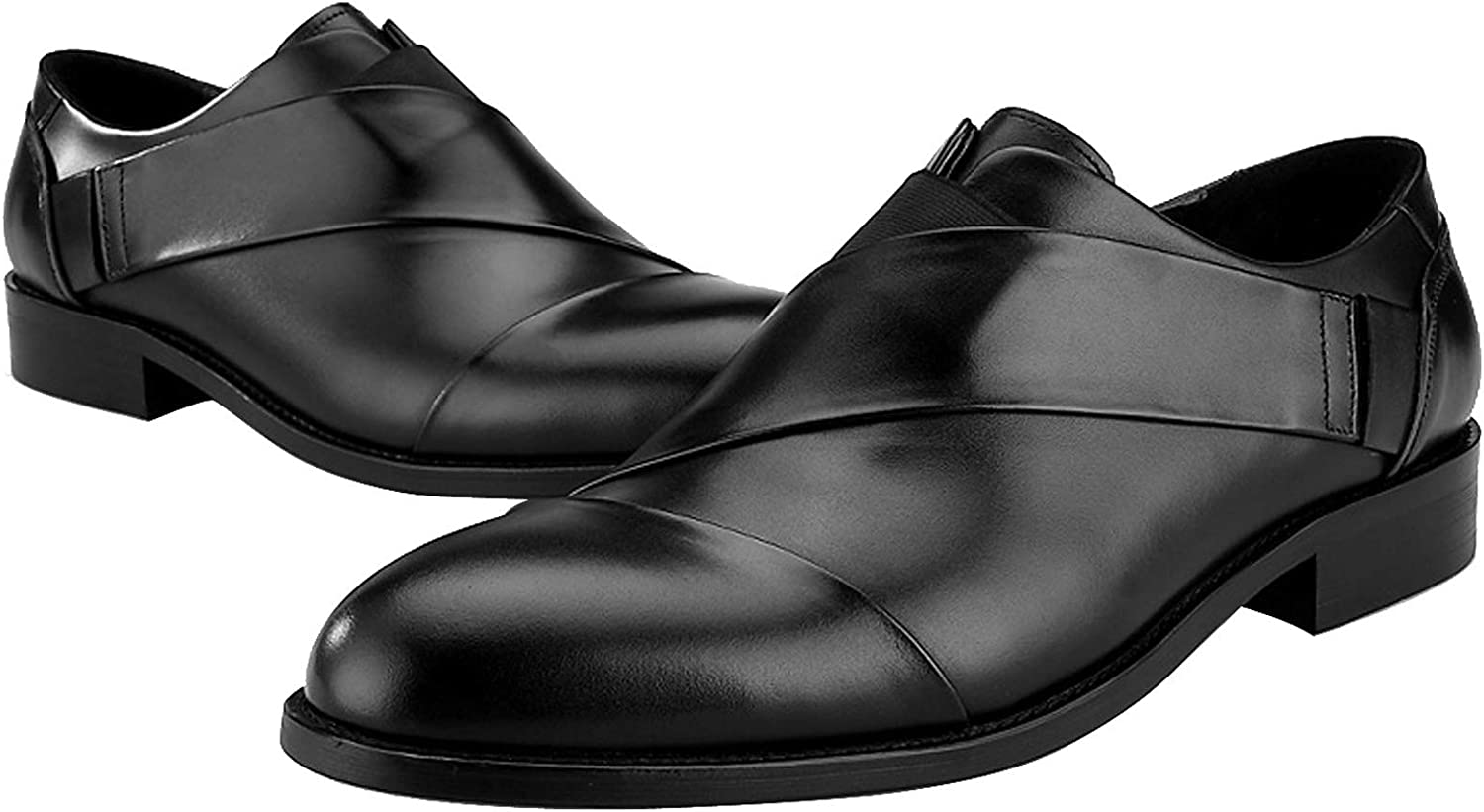BONGZUO Feet Comfortable Oxford shoes, Pointed Leather Trend Personality Personality British Design Hair Stylist Men Leather shoes, YMXP9-T6
