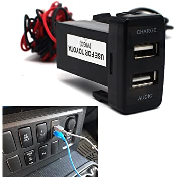 USB Socket Port with Audio Socket for Toyota Vigo Series - MOTONG Car USB Adapter for iPhone X/8/7/6/5, iPad, Samsung,LG,Huawei and More (USB Port+Audio)