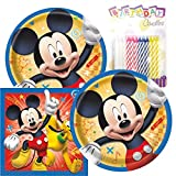 "Mickey Birthday Party Pack – Includes 7"" Paper Plates & Beverage Napkins Plus 24 Birthday Candles – Serves 16"