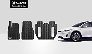 ToughPRO Floor Mats Set 1st + 2nd + 3rd Row Compatible with Tesla Model X (6 Seater) - No Center Console - All Weather - Heavy Duty - (Made in USA) - Black Rubber - 2016, 2017, 2018, 2019, 2020