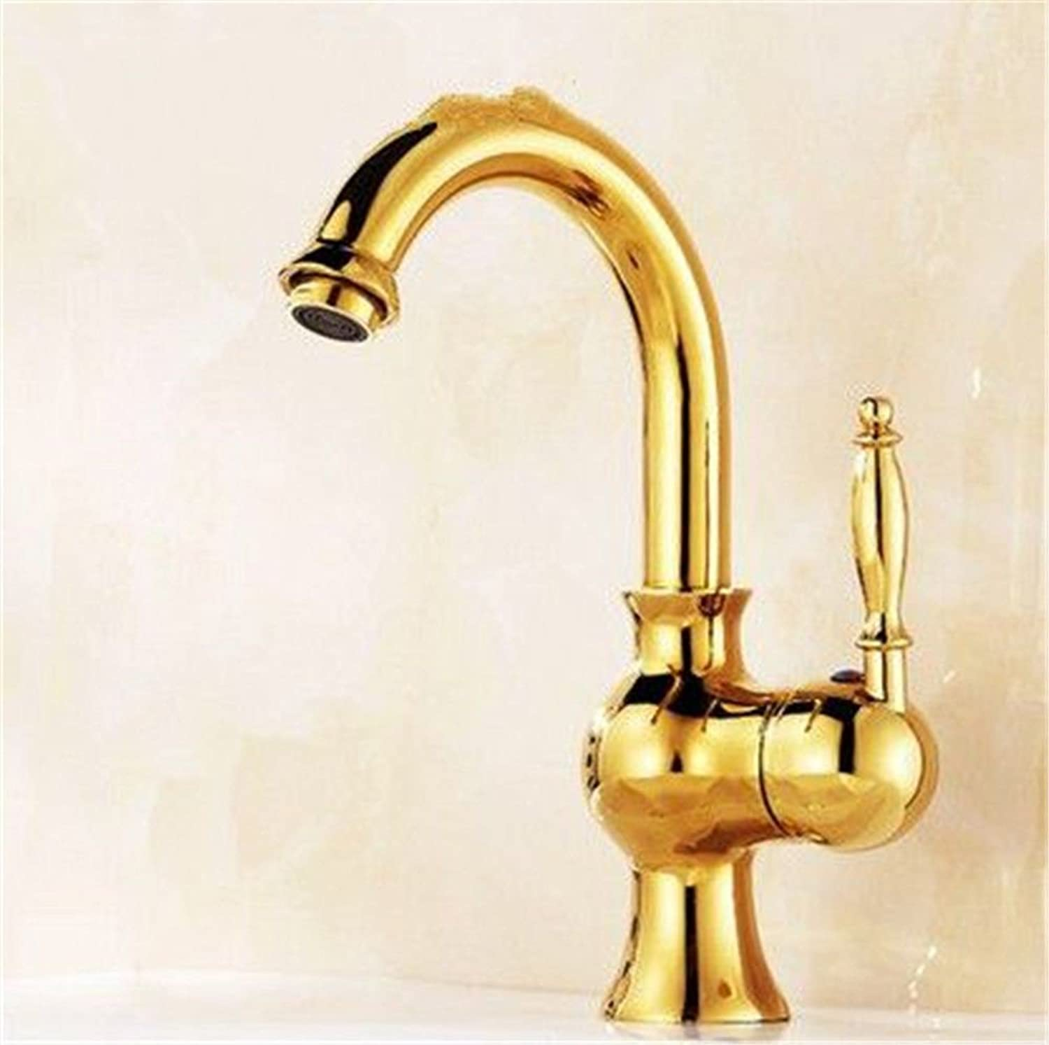 Lpophy Bathroom Sink Mixer Taps Faucet Bath Waterfall Cold and Hot Water Tap for Washroom Bathroom and Kitchen Single Handle Single Hole Sitting Titanium Cold Hot redating gold