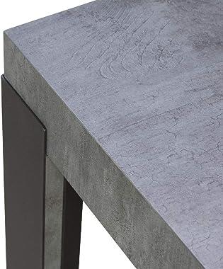 Itamoby Table fixe ligne fix 130 plan en béton et châssis anthracite L.130 P. 90 H.77