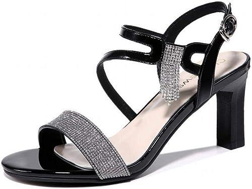 LTN Ltd - sandals Rhinestone Femme Sandales Femme Fée Fée Vent été Chaussures à Talons Hauts, Noir, 35  avec 60% de réduction