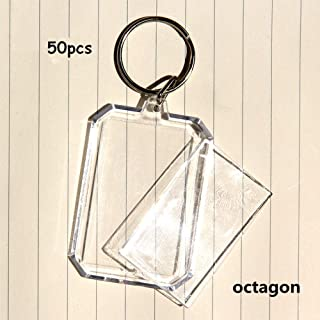 King&Pig 50pcs Key Chains Key Rings with Transparent Clear Picture Photo Frames can open Keychains (octagon)
