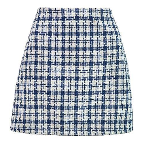 N\P Tejido de Lana a Cuadros Una Línea de las Mujeres Mini Falda de Cintura Alta Slim Patchwork Femenino Faldas Cortas Otoño Invierno de Moda de las Señoras