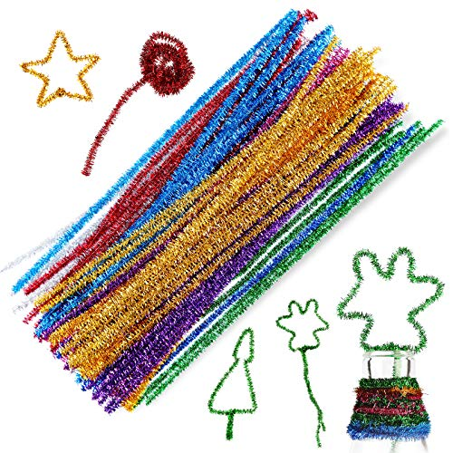 100 Pcs Mixed Color Pipe Cleaners, Glitter Sparkle Pipe Cleaners Tinsel Chenille Stems,10 Colors Pipe Cleaner for DIY Crafts, Arts, Holiday Decoration