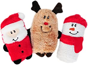 ZippyPaws - Holiday Squeakie Buddies No Stuffing Plush Dog Toy - 3-Pack Santa, Reindeer, Snowman