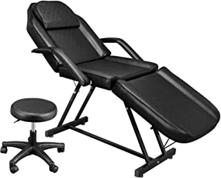 OmySalon Massage Salon Tattoo Chair with Hydraulic Stool, Multi-Purpose 3-Section Facial Bed Table, Adjustable Beauty Barb...