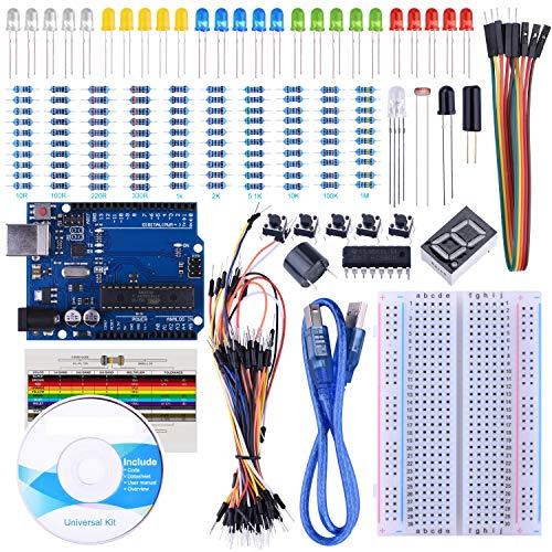STARTO Starter Kit Scheda Breadboard Sensor Jumper Wire 1 Digit 7-Segment Display Resistance Card con Tutorial gratuiti SUA002