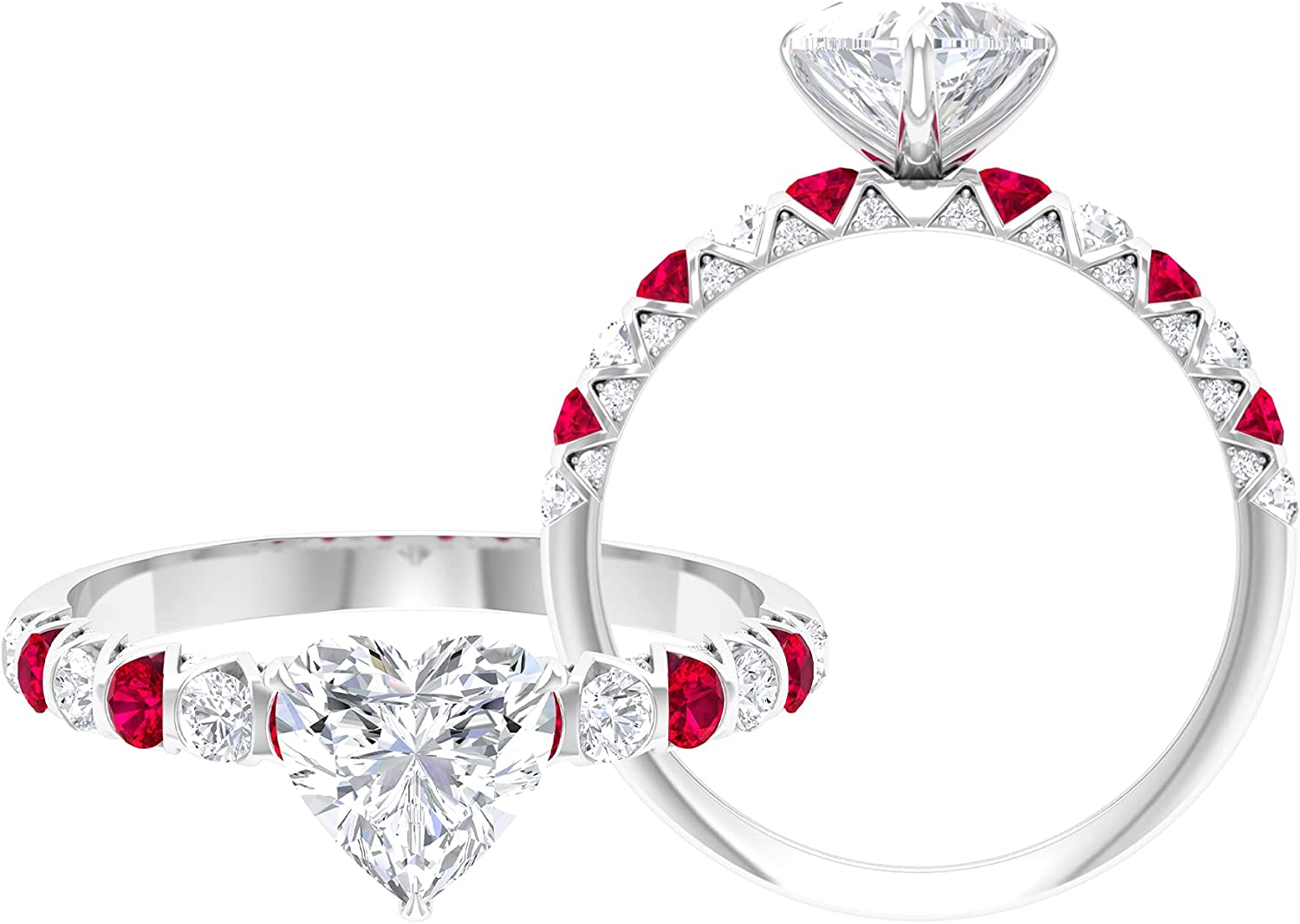 2 CT Heart Cut Solitaire Moissanite and Created Ruby Ring,14K White Gold,Moissanite,Size:US 8.50