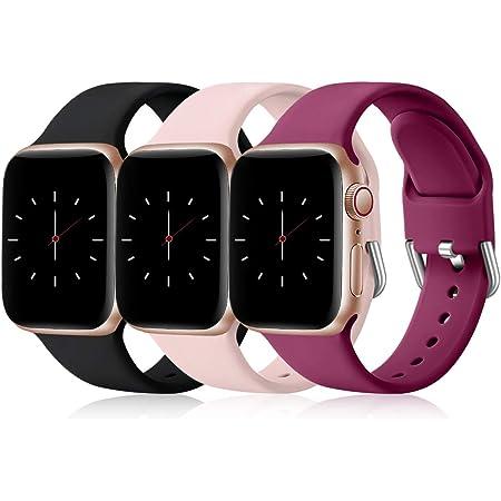 Wepro 3 Pack Correas Compatible con Apple Watch Correa 38mm 42mm 40mm 44mm, Correa de Silicona Suave de Repuesto Compatible con iWatch Series 6, 5 4 3 2 1, SE, 38mm/40mm-S/M Negro/Rosa/Fucsia