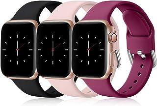 Wepro 3 Pack Correas Compatible con Apple Watch Correa 38mm 42mm 40mm 44mm, Correa de Silicona Suave de Repuesto Compatibl...