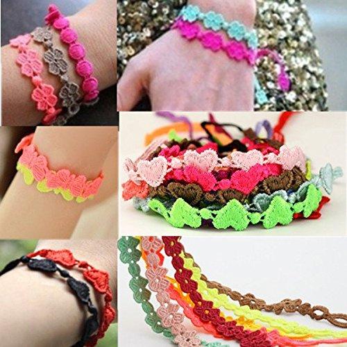Calli Colore della caramella trifoglio bowknot infinito cuore pizzo catena braccialetto del tessuto