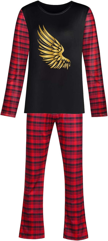 Moxiu Mens Gold Wing Print Pajamas Set Sleepwear Suit Lounge Wear for Couple