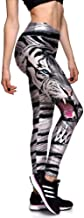 Mallas Deportivas Capris de Mujer, Tigre Blanco de las mujeres Imprime Cintura Alta Capri Leggings Entrenamiento Correr Medias Atléticas Control de la Panza Yoga Pilates Pantalones Pantalones Deportiv
