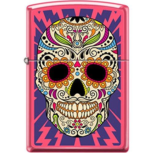 Zippo Sugar Skull with Lightning Bolts Pink Matte Lighter