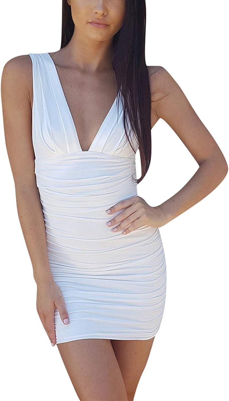 Rozegaga Womens Sexy Mini Deep VNeck Sleeveless Backless Bodycon Party Club Night Dresses