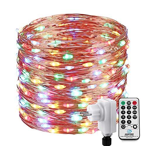 Qedertek Luci Albero di Natale, Catena Luminosa 20M 200 LED, Luci di Natale Esterno ed Interno, Filo di Rame, Luci Colorate Addobbi Natalizi Esterno, Luci Natalizie da Esterno ed Interno