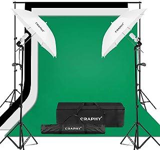 CRAPHY Kit de Iluminación para Fotografía 2X Paraguas Blanco Traslúcido 3X Fondos Croma Verde Negro y Blanco