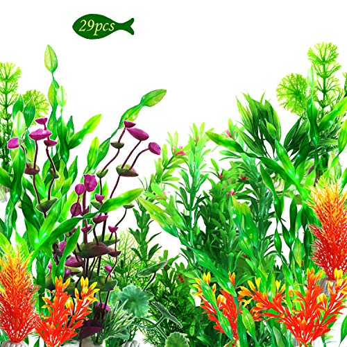 OrgMemory Artificial Aquarium Plants, Fish Tank Decorations, (29pcs, 12-30cm), Plastic Aquariums...