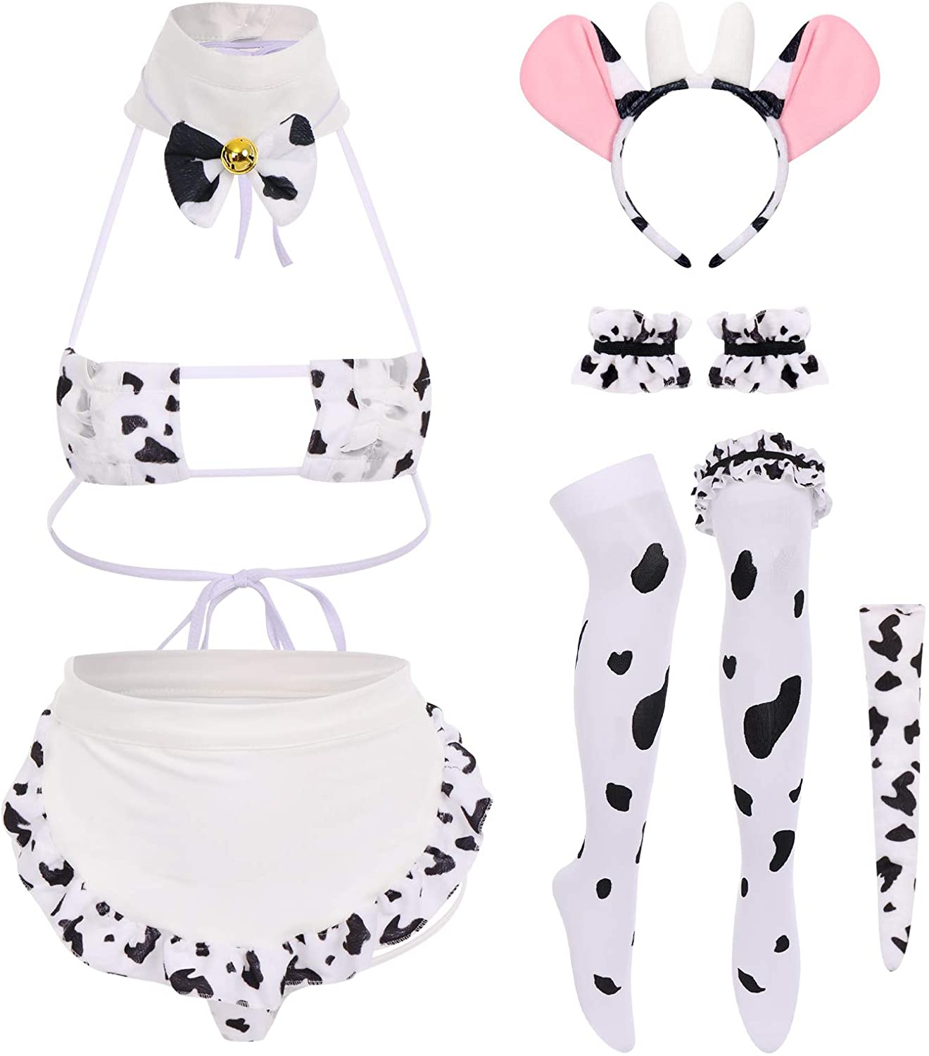 IWEMEK Women Sexy Dalmatian Milk Roleplay Discount mail order Co New color Leopard Cosplay Cow