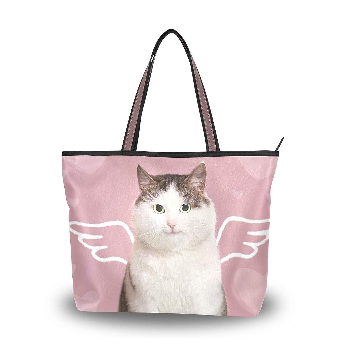 君主一目小屋バララ(La Rose) トートバッグ レディース 大容量 通勤 通学 軽い 布 肩掛け a4 かわいい 猫柄 ネコ 可愛い 面白い ハンドバッグ 手提げ袋 おしゃれ 高校生 2way ママ 手提げバッグ キャンバス ファスナー