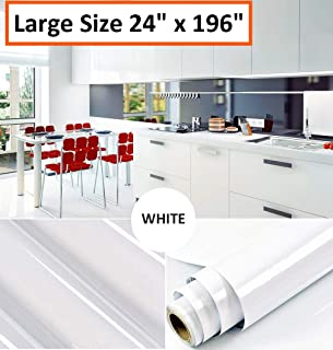 Oxdigi White Contact Paper Decorative for Countertops Cabinets Shelves Glossy Self Adhesive Film Peel and Stick Waterproof Wallpaper 24 x 196 inches (Pearlescent Glitter)