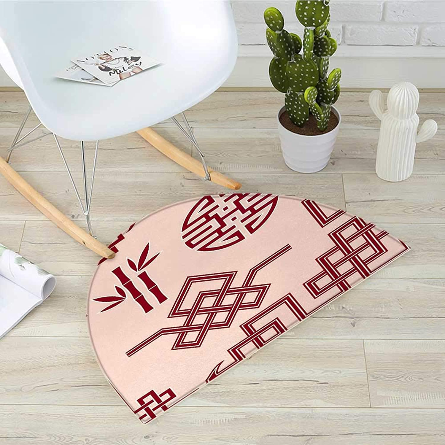 Asian Semicircular CushionSet of Oriental Design Elements Traditional Eastern Knot and Bamboo Framework Entry Door Mat H 31.5  xD 47.2  Peach and Ruby