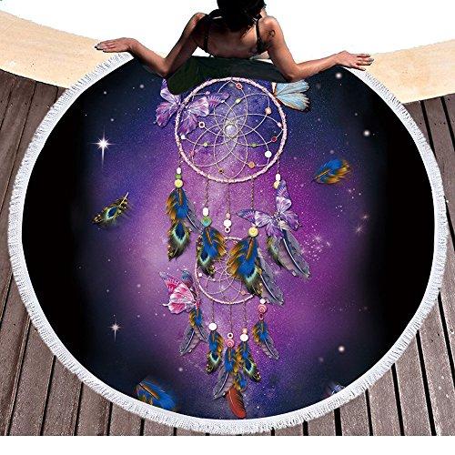 Attrape-rêves coloré avec imprimé papillons - Serviette de plage ronde avec pompons - Plume ethnique indienne - Ronde - Boho hippie - Plage - Roundie Yoga - Picnic - Tapis de 150 x 150 cm
