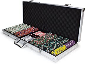 Claysmith Gaming 500 Count Showdown Poker Set – 13.5 Gram Clay Composite Chips with Aluminum Case, Playing Cards, Dealer Button for Texas Hold'em, Blackjack, Casino Games