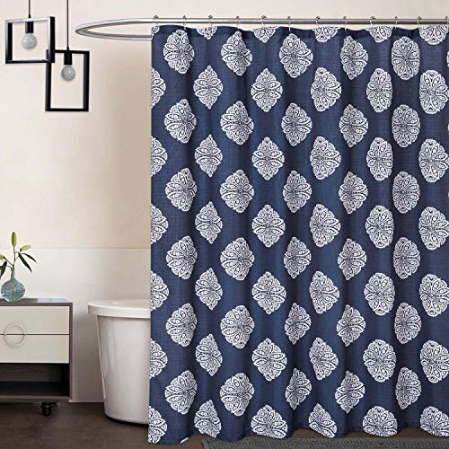 CAROMIO Fabric Shower Curtain 84 Inch Long, Medallion Damask Print 200GSM Extra Long Fabric Shower Curtains with Reinforced Buttonholes for Bathroom, Navy Blue, 72x84 Inch