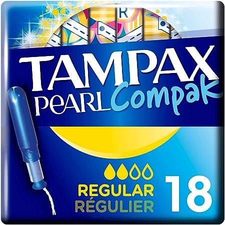 Tampax Pearl Compak Régulier Tampons Applicateur x18, La Meilleure Combinaison De Confort, Protection Et Discrétion Tampax