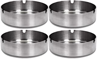Round Stainless Steel Cigarette Cigar Ashtray Set -- Pack of 4 Deluxe Ashtrays for Outdoors and Home