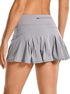 CRZ YOGA Women's Quick-Dry Athletic Tennis Skirts Volleyball Shorts Mid-Waisted Pleated Skirts Sport Skort with Pocket