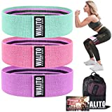 Walito Resistance Bands for Legs and Butt - Exercise Bands Set Booty Hip Bands Wide Workout Bands Sports Fitness Bands Resistance Loops Band Anti Slip Elastic (Green,Pink,Purple)
